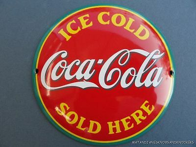 FANTASTIC QUALITY VINTAGE STYLE COCA COLA SOLD HERE ENAMEL METAL SIGN BADGE