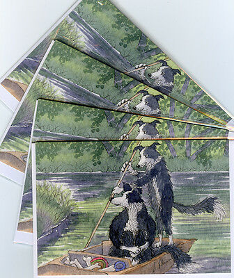 4 x Border Collie dog greeting cards by Susan Alison  messing about on the river