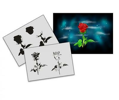 Step by Step Airbrush Schablone AS-189 Rose ~ Tattoo Stencil ~ UMR-Design