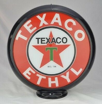 Texaco T-Star Gas Pump Globe Black Trim T Glass Lenses Station Shop Store Decor