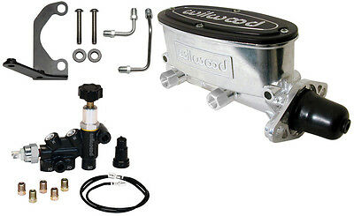 "Wilwood Polished Tandem Master Cylinder,1"",w/ Combination Proportioning Valve"