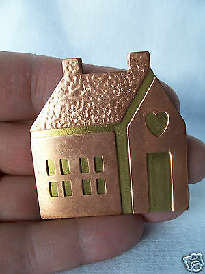 Vintage Signed Hallmark Two Toned Copper & Gold Metal House with Heart Pin