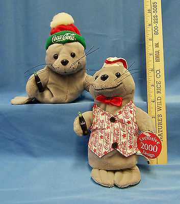Vintage Coca Cola Plush Stuffed Bean Bag Seal Coke  Collectibles Lot of 2