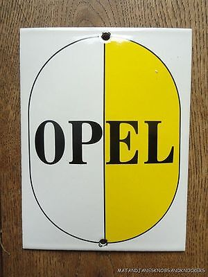 Superb Vintage Opel  Service Enamel Metal Sign Plaque White And Yellow
