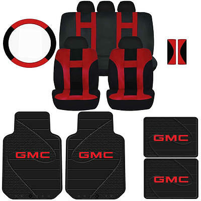 Red & Black Dbl Stitch Airbag Ready Seat Cover & Gmc Factory Rubber Mats Set