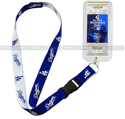 LOS ANGELES DODGERS 2-IN-1 OFFICIAL MLB LANYARD KEYCHAIN ID + TICKET HOLDER
