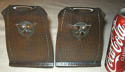 Antique Solid Hammered Copper Roycroft Trefoil Arts Crafts Statue Book Bookends