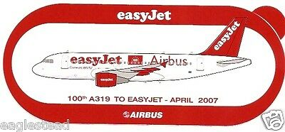 Baggage Label - easyJet - A319 - 100th Aircraft - Airbus - Sticker 04/07 (BL493)