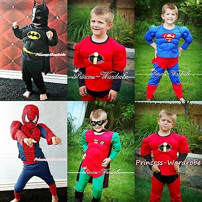 Halloween Children Muscle Costume Super Hero Bat Spider Dress Up Party Clothing