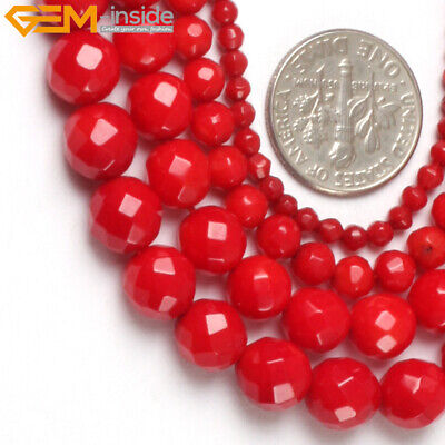 "Natural Faceted Coral Gem Beads For Jewelry Making 15"" Dyed Jewelry Making Beads"