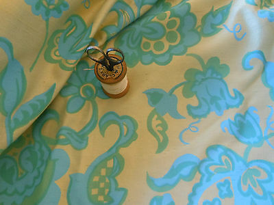 Vintage Retro Floral Fabric~Aqua Blue Green Butter Silky ~pillow upholstery tote