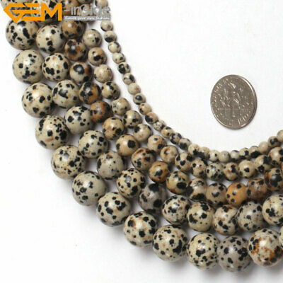 """New Natural Stone Round Dalmatian Dalmation Stone Beads For Jewelry Making 15"""""""