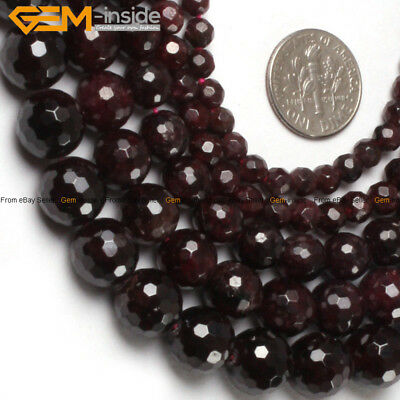 """Natural Stone Genuine Garnet Beads For Jewelry Making 15"""" Faceted Jewelry Beads"""
