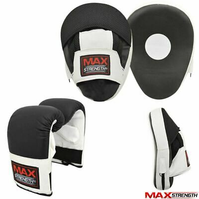 Focus Pads Hook Jab Mitts Boxing Gloves MMA Sparring Punching Punch Bag Black