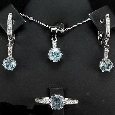 Sterling silver 925  Topaz Ring Earring, Pendant & Chain Set Sz M (US 6.25)