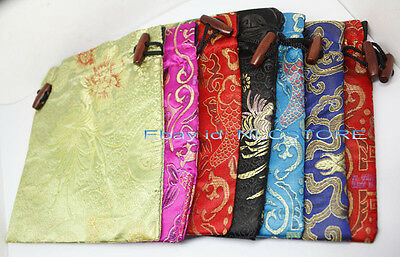 wholesale lot bulk 10pcs Brocade mix color manmade silk cloth jewelry bag pouch