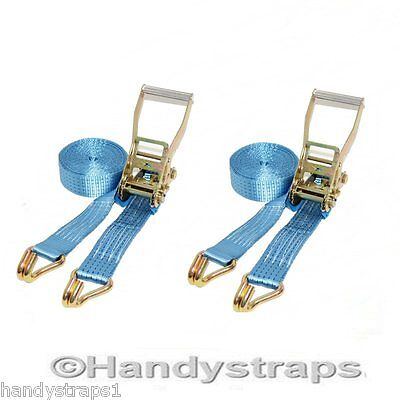 2 X 4 meter x 50mm Blue Ratchets Tie Down Straps  5 tons Lorry Lashing