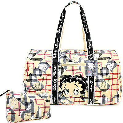 "Betty Boop Quilted Duffle Travel Bag Diaper Gym Bag-Betty Brown Checkered 21"" XL"