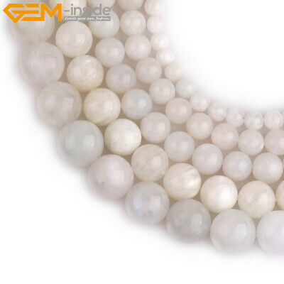 """Natural Gemstone White Moonstone Beads For Jewelry Making 15"""" Wholesale Beads"""