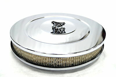 "14"" x 2"" RECESSED BASE CHROME AIR FILTER 5 1/8 NECK HOLLEY DEMON EDELBROCK ETC"