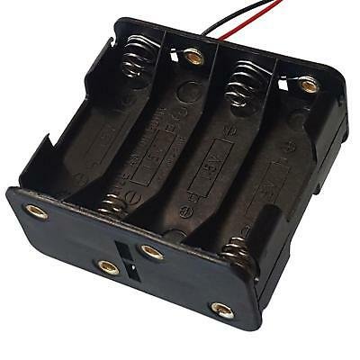 Plastic AAx8 / AA x 8 Battery Holder Black With ~15cm Leads