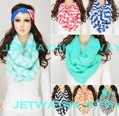 Women Infinity Chevron Zig Zag Color Block Chunk Circle Double Loop Scarf Wrap