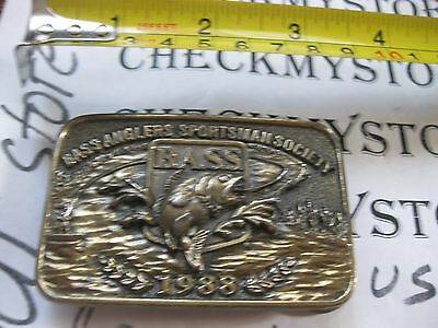 VINTAGE 1988 Bass Anglers Society Sportsman B.A.S.S. Belt Buckle spirit of 88