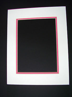 Picture Mat Double Mat 11X14 for 8x10 photo White with hot pink liner mat