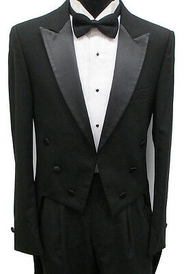 Black 6 Button Tailcoat Halloween Costume Theater Victorian Dracula Dickens 38L