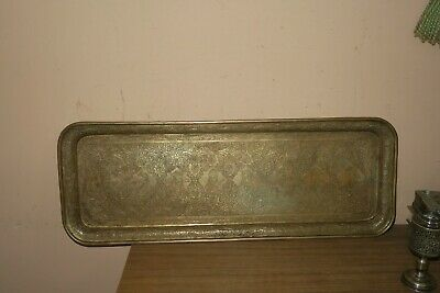 """Rare Vintage Persian Hand Chased Copper tray - Head of 8 Kings 8.5"""" x 23"""""""