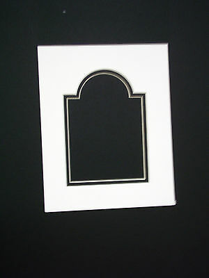 Picture Mat Cathedral Double Mat 8x10 for 5x7 photo Ivory with Black inner mat
