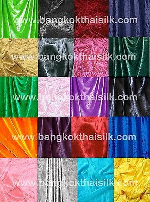 """5 YARDS VELVET 2 Way Stretch Fabric 60""""W 22 COLORS! for Drape Dress Tablecloth"""