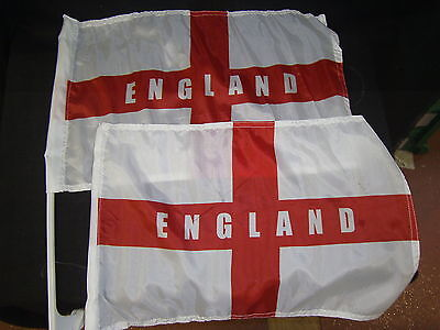 England Supporters A Pair Of St George's Cross Car Flags Football Rugby Cricket