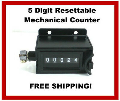 5 Digit Resettable Mechanical Pulling Stroke Pull Tally Counter  NEW