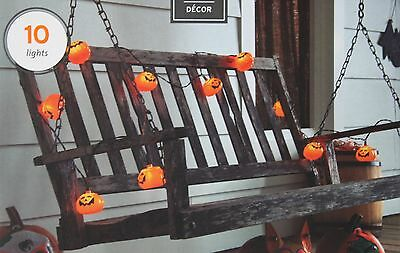 Halloween 10 Orange Jack O Lantern Pumpkin Lights Indoor/outdoor Black Wire NIB