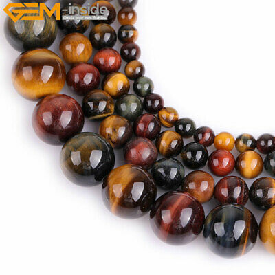 """Natural Gemstone Multicolor Tiger's Eye Stone Loose Beads For Jewelry Making 15"""""""