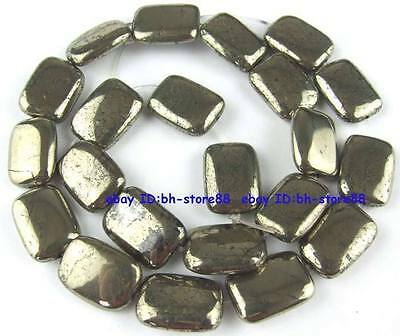 100% Natural Oblong Flat Pyrite Loose Beads 15.5''