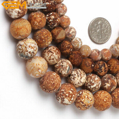 """Natural Stone Matte Round Wood Agate Beads For Jewelry Making 15"""" 6mm, 8mm, 10mm"""