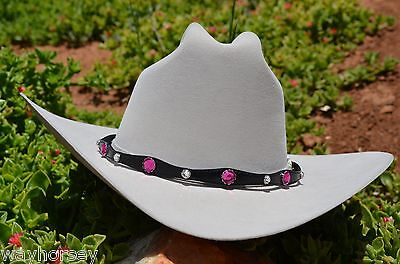 """1/2"""" Black Western Scalloped Hatband with Pink Rhinestones & Silver Buckle"""