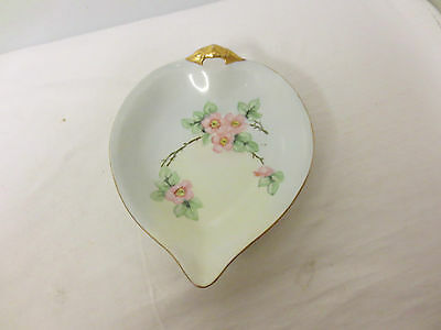 Older Germany marked Hand Painted Leaf Shape Tidbit, Candy, Nut bowl-Gold Trim
