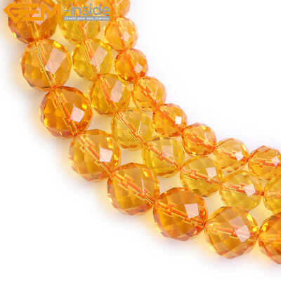Dyed Faceted Round Yellow Citrine Gemstone Loose Beads For Jewelry Making 15""