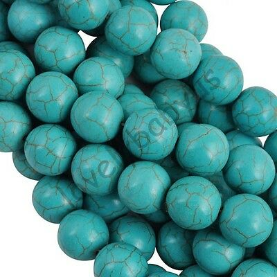 Fashion Round Natural Turquoise Gemstone Spacer Loose Beads Charms 4-14 mm