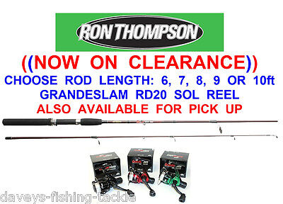 RON THOMPSON 2pc SPINNING ROD+SOL REEL 6 7 8 9 OR 10 ft SEA PIER COARSE FISHING