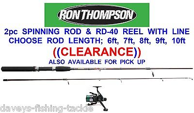 RON THOMPSON 2pc SPINNING ROD+RD-40 REEL+LINE 6 7 8 9 OR 10 ft SEA PIER FISHING