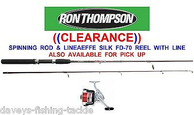 RON THOMPSON 2pc SPINNING ROD+LINEAEFFE SILK70 REEL 6 7 8 9 OR 10 ft PIKE BASS