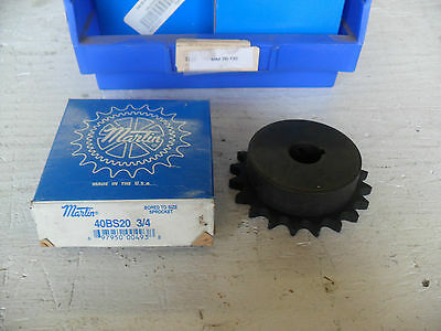 """New Martin Sprocket 40BS20 3/4"""" bore, New in Sealed Box"""