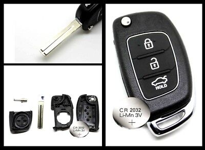 FITS Hyundai IX35 i20 Tucson 3 Button FOB Remote Key CASE + battery 2032