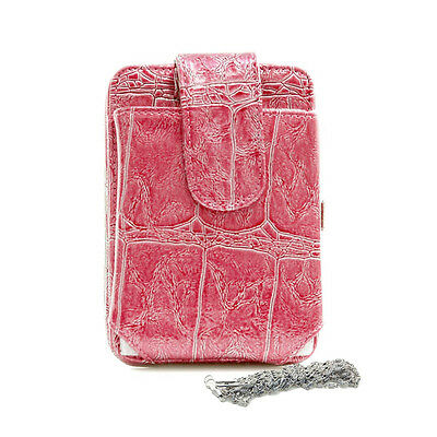 Cell Phone Case Frame Wallet with Croco Embossed Pattern Leather hot pink