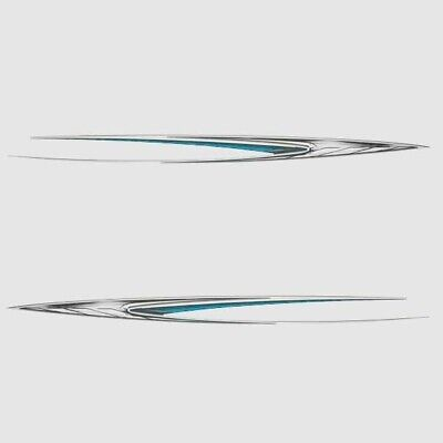 Glastron 05732915 Metsilv/wht/blk/teal 142 X 9 3/4 Boat Decals (Set Of 2)
