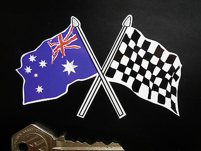 Crossed Australian & Chequered FLAG Car Motorcycle Decal STICKER Racing Vinyl